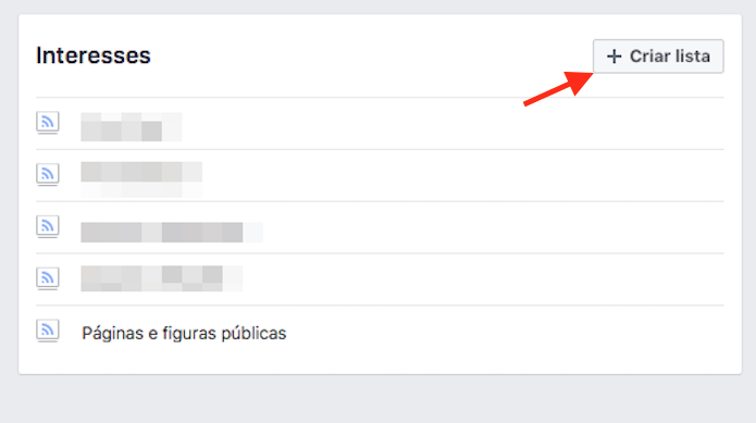 Opção para criar uma nova lista de interesse em um perfil de usuário no Facebook (Foto: Reprodução/Marvin Costa)