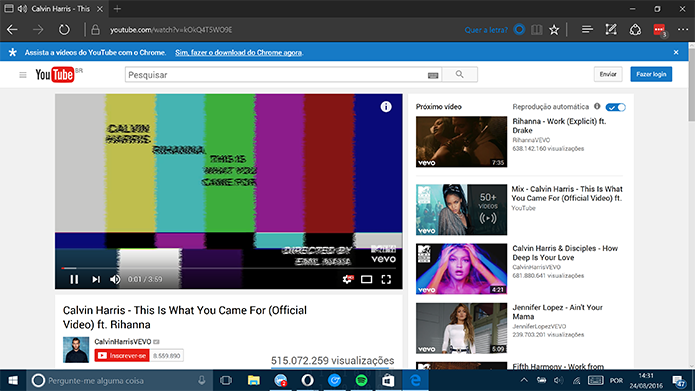 Cortana identifica músicas do YouTube no Microsoft Edge e sugere letras (Foto: Reprodução/Elson de Souza)