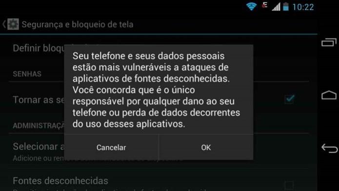 Aviso do Android sobre o perigo de apps instalados a partir de  fontes desconhecidas (Reprodução / Dario Coutinho) (Foto: Aviso do Android sobre o perigo de apps instalados a partir de  fontes desconhecidas (Reprodução / Dario Coutinho))