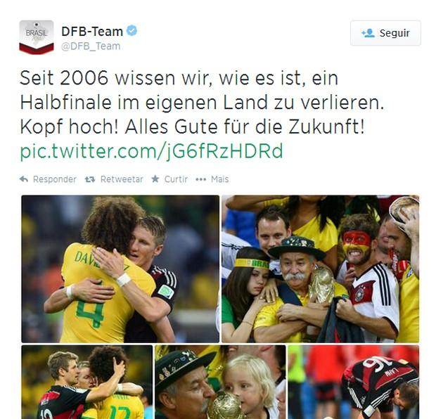 Tuíte postado pelo perfil oficial da seleção da Alemanha (Foto: Reprodução / Twitter)