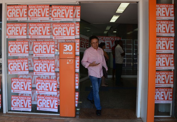 Greve dos bancários ; greve dos bancos ; paralisação dos bancários ;  (Foto: Elza Fiuza/Agência Brasil)
