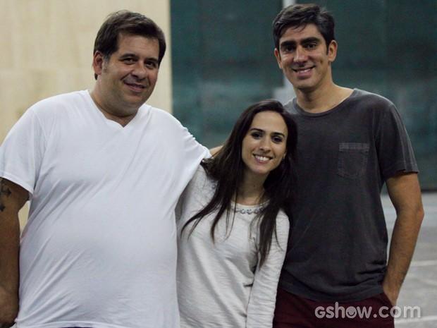 Leandro Hassum, Tatá Werneck e Marelo Adnet no ensaio (Foto: Carol Caminha / TV Globo)