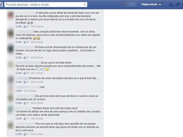 Internautas ficaram revoltados com a atitude do dono do animal e fizeram críticas na página do Facebook (Foto: Reprodução/Facebook)