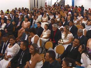 casamento comunitário, sesi, macapá, amapá (Foto: Reprodução/Rede Amazônica no Amapá)