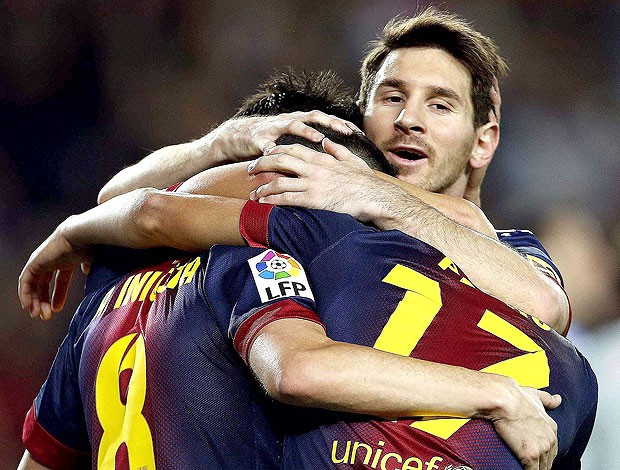Messi comemora gol do Barcelona contra o Celta (Foto: AP)