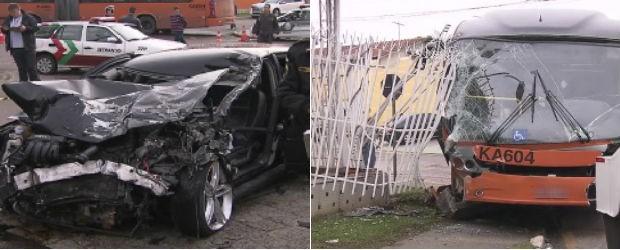 Acidente envolveu um carro e um ônibus no bairro Xaxim, em Curitiba (Foto: Reprodução / RPC TV)