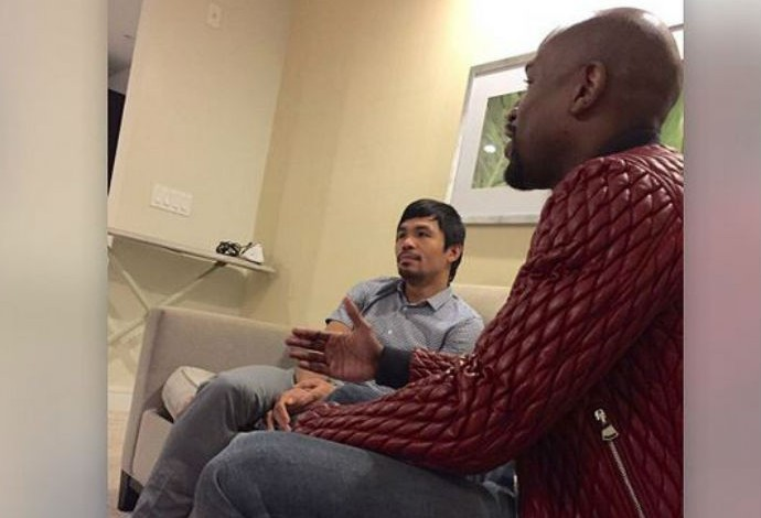 Mayweather mostra foto dele ao lado de Pacquiao (Foto: Reprodução/Instagram)