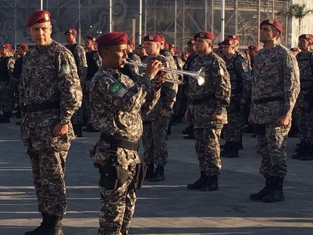 Tropas da Força Nacional de Segurança ficarão responsáveis pela segurança do Parque Olímpico, na Barra da Tijuca (Foto: Cristina Boeckel/G1)