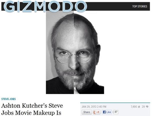 Montagem de Ashton Kutcher (à esq.) e Steve Jobs, em maquiagem para o filme 'jOBS' (Foto: Reprodução/Gizmodo)