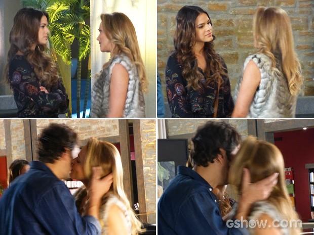 Shirley beija Laerte (Foto: Em Família/TV Globo)