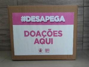 Caixa de doação de roupas, calçados e objetos da ação #desapega  (Foto: Divulgação/ Marketing TV Gazeta)