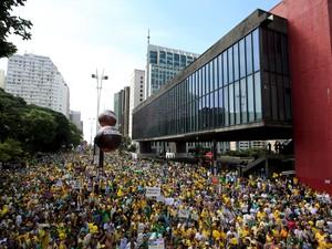 SP: protesto em frente ao Masp, na Avenida Paulista (Foto: REUTERS/Paulo Whitaker)