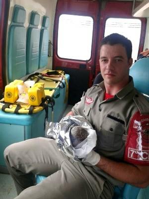 Soldado ajudou em parto de bebê em Passo Fundo, RS (Foto: Tiago Silva/Arquivo Pessoal)