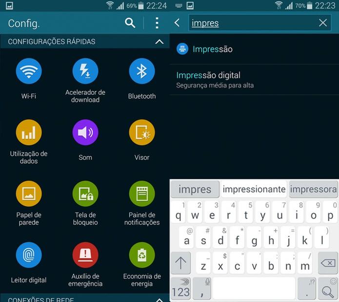 Barra de pesquisa do menu de Configurações do Galaxy S5 (Foto: Reprodução)