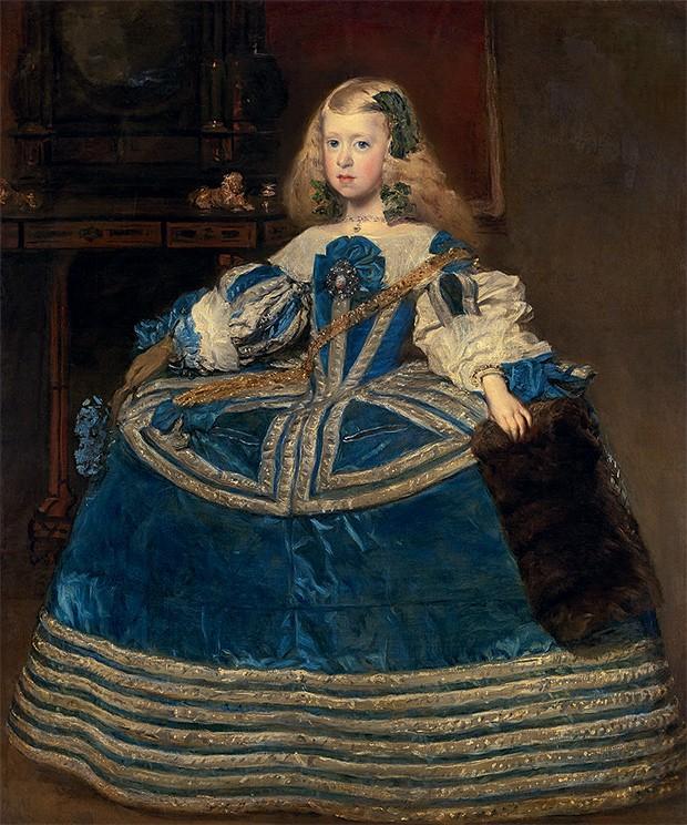 Retrato da infanta Margarida em azul 1659 Fruto do segundo casamento de Felipe IV,  a princesa ajudou a tornar o ambiente da corte mais alegre (Foto: Divulgação)