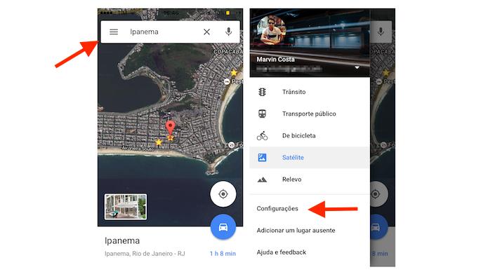 Acessando as configurações do Google Maps para iPhone (Foto: Reprodução/Marvin Costa)