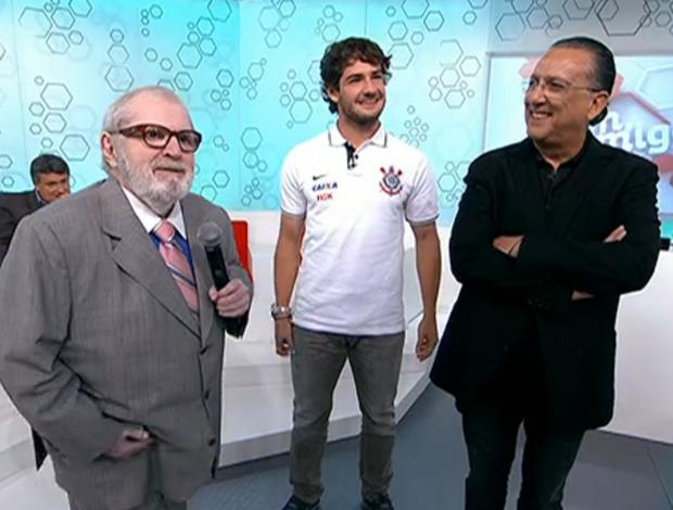 Jô Soares, Alexanfre Pato, Galvão Bueno (Foto: Reprodução SporTV)
