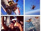 Usher salta de paraquedas em Dubai