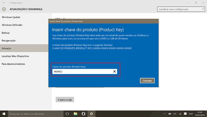 Usuário deve inserir a chave do Windows 7 ou 8 Pro para ativar Windows 10 Pro (Foto: Reprodução/Elson de Souza)