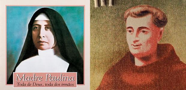 OS SANTOS DE CASA Madre Paulina, declarada santa em 2002, e Frei Galvão, reconhecido pelo Vaticano em 2007. O Brasil começa a aprender os trâmites da canonização (Foto: Ag. O Globo e reprodução)