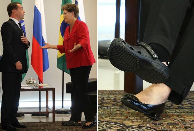 Dilma recebe o premiê russo em Brasília. Detalhe mostra o pé lesionado (Foto: Ed Ferreira/Estadão Conteúdo e Sérgio Lima/Folhapress)