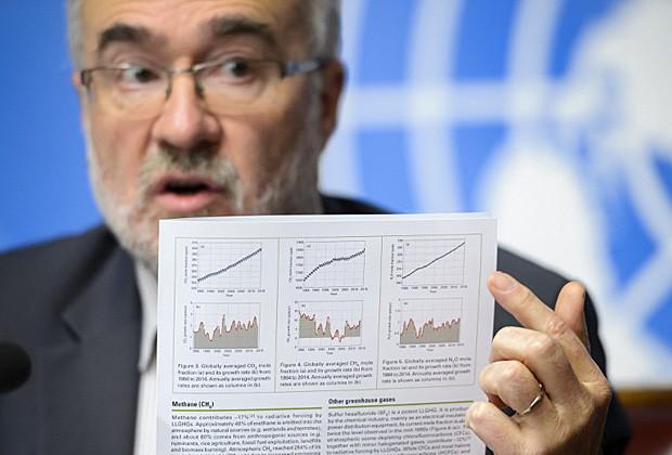 O secretário-geral da Organização Meteorológica Mundial, Michel Jarraud, mostra gráficos ilustrando o aumento da concentração de CO2 (Foto: Fabrice Coffrini/AFP)