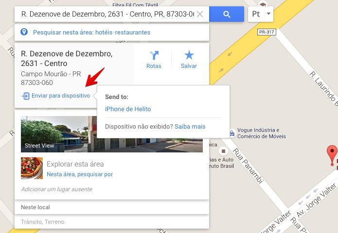 Enviando endereço para o celular (Foto: Reprodução/Helito Bijora)