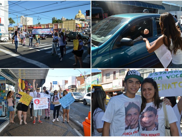 Familiares e amigos de Renato se reuniram para arrecadar dinheiro em avenida de São Carlos (Foto: Aline Ferrarezi/G1)