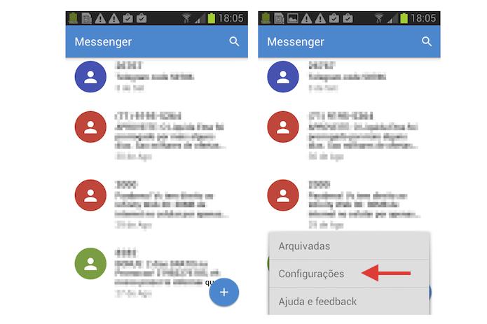 Acessando as configurações do aplicativo Messenger do Google para ativar o relatório de recebimento de mensagens (Foto: Reprodução/Marvin Costa)