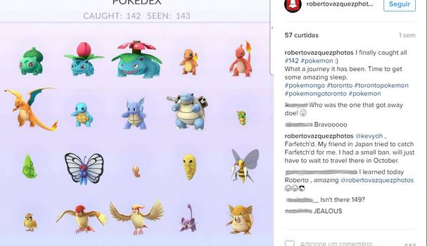 Roberto Vazquez já caçou todos os Pokémon disponíveis na América do Norte  (Foto: Reprodução/ Instagram)