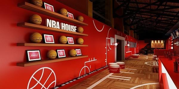 Croqui do espaço montado pela NBA no Armazém da Utopia: man caves americanas serviram de inspiração (Foto: Divulgação)