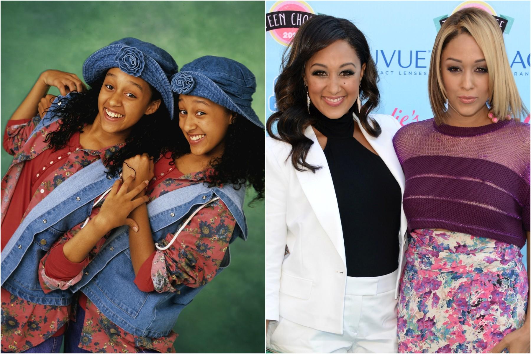 Dos 15 aos 21 anos de vida, Tia e Tamera Mowry agitavam a programação da Nickelodeon vivendo as engraçadas protagonistas da sitcom 'Irmã ao Quadrado' (1994–1999). As gêmeas agora têm 35 anos. (Foto: Divulgação e Getty Images)