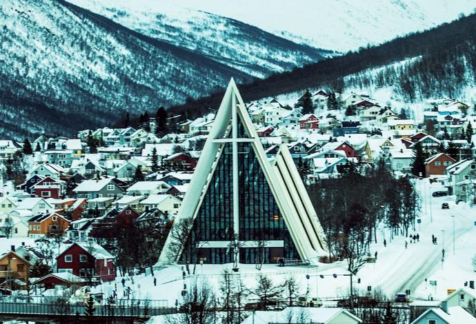 Catedral do Ártico, na cidade de Tromsø, clicada por Marco (Foto: Divulgação)