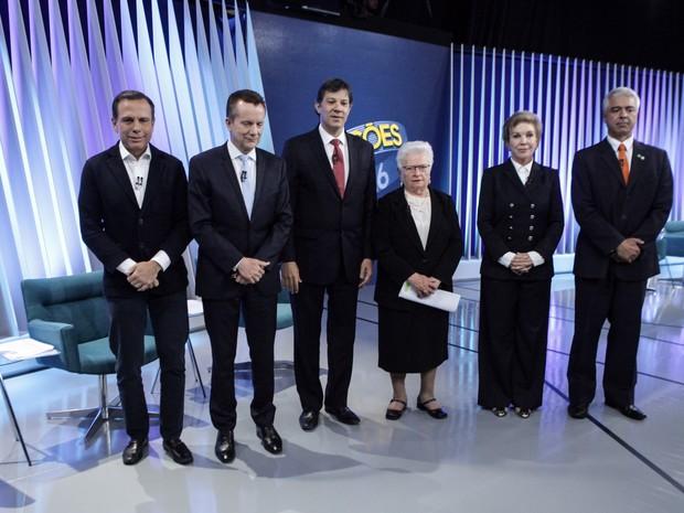 Os candidatos à Prefeitura de São Paulo, Celso Russomanno (PRB), Fernando Haddad (PT), João Doria (PSDB), Luiza Erundina (PSOL), Major Olimpio (SD) e Marta (PMDB) chegam para debate na Globo (Foto: Caio Kenji/G1)