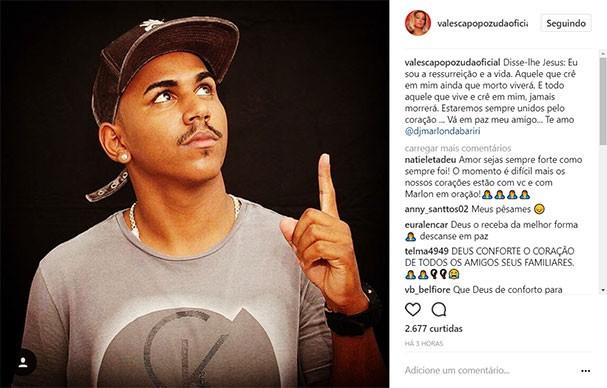 Valesca Popozuda homenageia o amigo DJ Marlon da Biriri (Foto: Reprodução/Instagram)