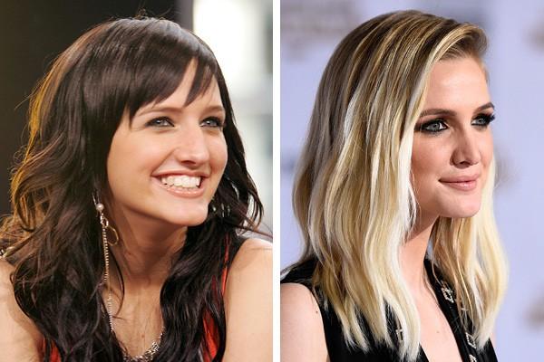 Ashlee Simpson em 2004 e em 2014 (Foto: Getty Images)