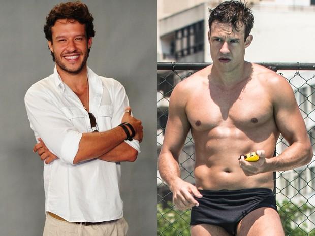 Nando Rodrigues ganha massa muscular e perde gordura para viver Ricardo (Foto: João Cotta/ TV Globo e Raphael Dias/ Gshow)