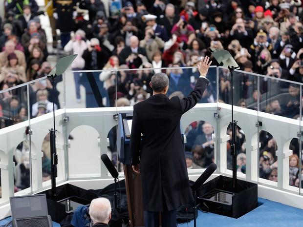 Barack Obama em seu discurso de posse (Foto: Getty Images)