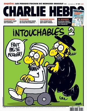 """sem dogmas Capa do Charlie Hebdo de 2012.  A charge de  um muçulmano numa cadeira de rodas empurrada por um judeu ortodoxo  – em que ambos dizem: """"Não façam piada disso!"""" – era uma alusão ao filme  Intocáveis (Foto: Piero Oliosi/Polaris/Newscom)"""