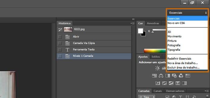 Acesse o menu do topo direito para personalizar as ferramentas exibidas no Photoshop CS6 conforme o tipo de projeto (Foto: Reprodução/Barbara Mannara)