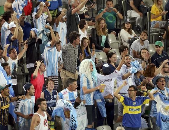 Torcida argentina na final do tênis masculino na Olimpíada do Rio (Foto: Kevin Lamarque/Reuters)