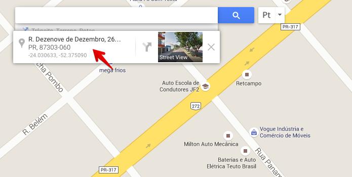 Abra o Google Maps e clique sobre o local que deseja enviar (Foto: Reprodução/Helito Bijora)