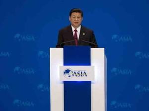 Presidente chinês Xi Jinping fala durante a cerimônia de abertura do Fórum Anual de Boao, neste domingo (7) (Foto: Reuters)