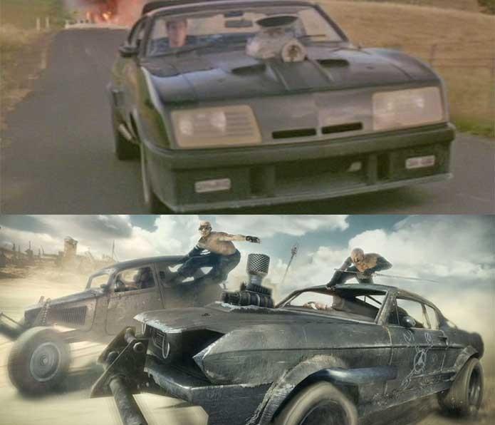 Veículos de Mad Max no filme e no game (Foto: Reprodução/Felipe Vinha)