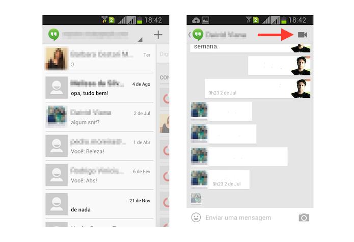 Iniciando uma conversa com vídeo no Hangouts pelo Android (Foto: Reprodução/Marvin Costa)