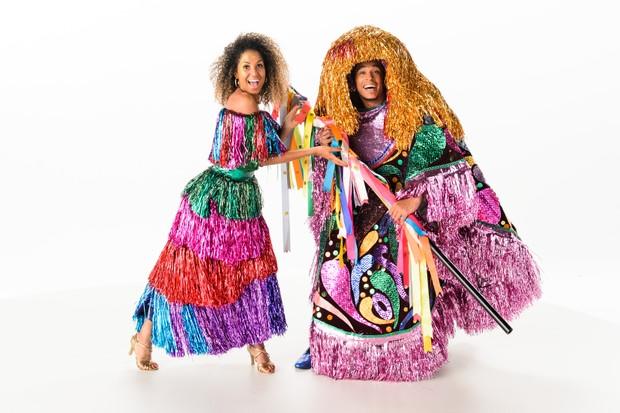 Erika Moura e David Caldas durante gravação da vinheta de carnaval (Foto: Crédito: Globo/Ramón Vasconcelos)