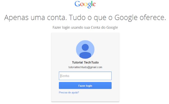 Acesse sua conta Google (Foto: Reprodução/Helito Bijora)