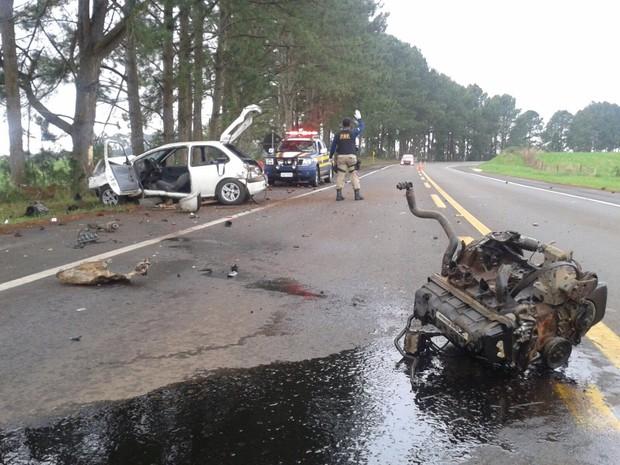 Acidente ocorreu na BR-285, em Vacaria (RS) (Foto: PRF/Divulgação)