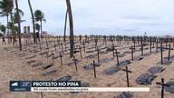 Praia do Pina recebe cruzes em ato pelos assassinatos ocorridos em 2018 no estado