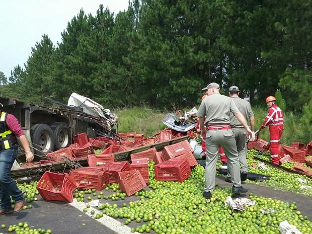 Carros ficaram destruídos com a colisão com caminhão (Foto: Zete Padilha/RBS TV)